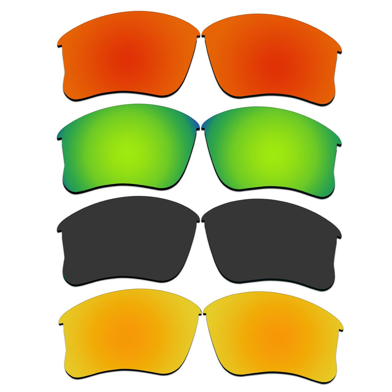 4 Pair Replacement Lenses for Oakley Flak Jacket XLJ Sunglasses With Polarized Pack P46