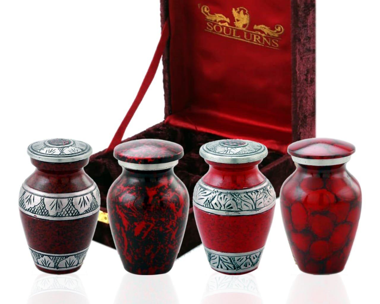 Funeral Keepsake Urns By SoulUrns - Red Small Mini Cremation Keepsake Urns for Human Ashes - Set of 4 - Includes Superb Velvet Urn Case