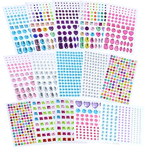 Lanpu Self-Adhesive Rhinestone Sticker Bling Craft Jewels Crystal Gem Stickers, Multi-Color & Shape, Assorted Size, 15 Sheets ()