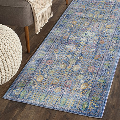 Safavieh Valencia Collection VAL108M Blue and Multi Vintage Distressed Silky Polyester Runner Rug (2'3'' x 12') by Safavieh
