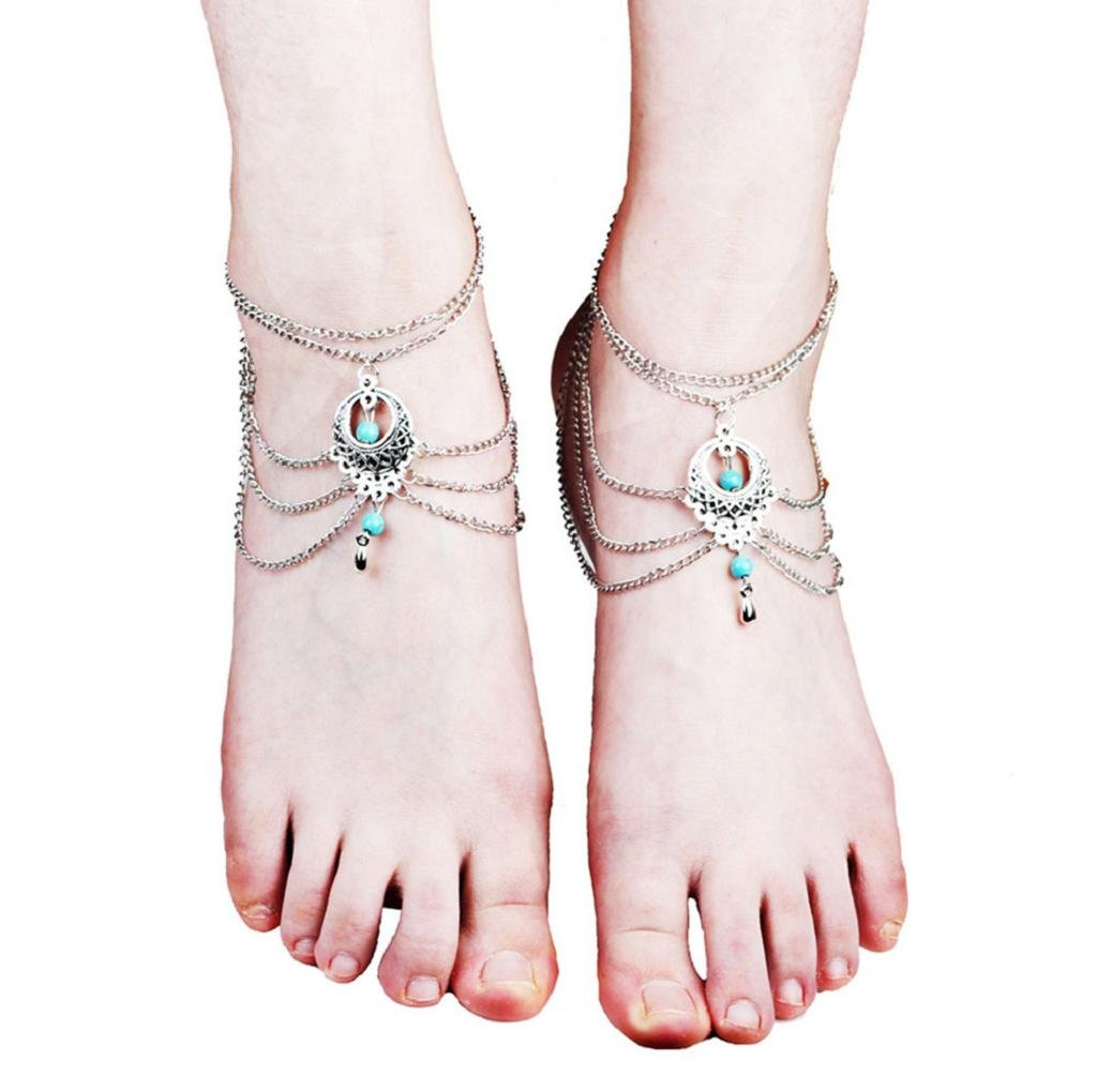 VIASA Women Stylish Foot Punk Tassel Jewelry Anklet Chain (A) by VIASA_Jewelry (Image #1)