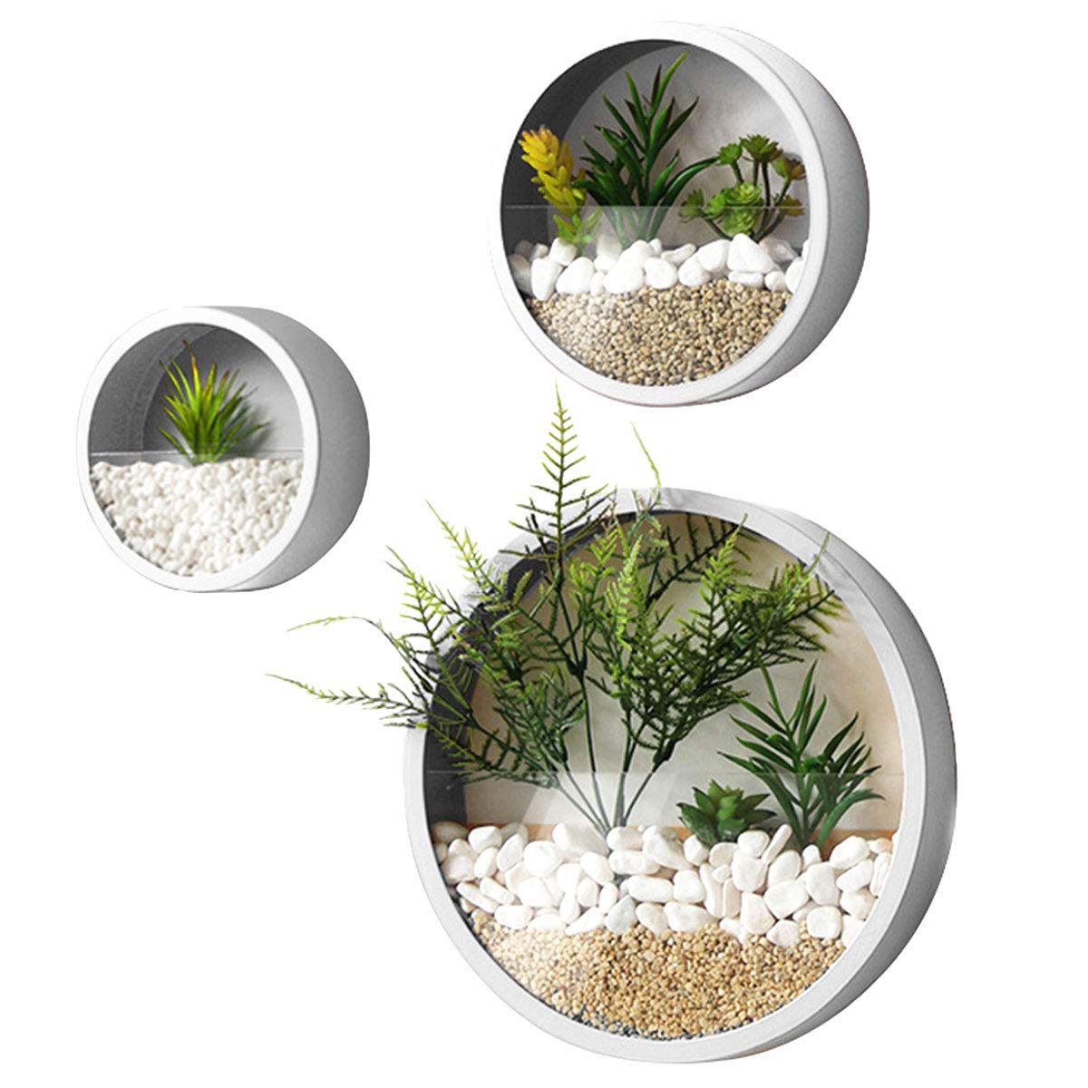 Modern Indoor Succulent Planter Metal Iron Circle Round Wall Hanging Planter (Pack of 3, White)