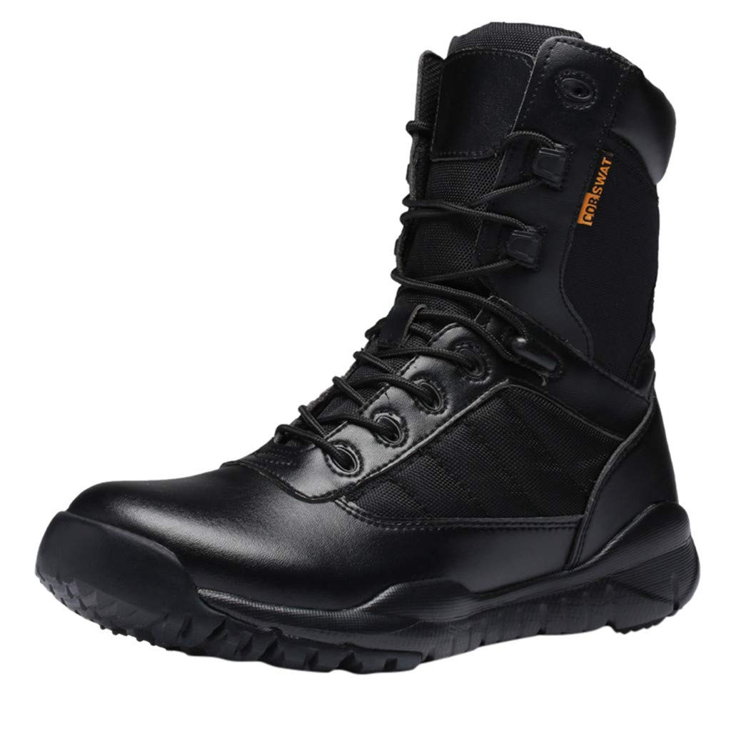LBPSUUEW Men's Outdoor Hiking Boots Anti-Skid Desert Boots Outdoor Tactical Climbing Boots Work Safety Boots Black