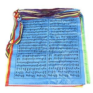 Bandera de oración budista tibetano Artificial seda color Print 6metros 20pcs/cuerda