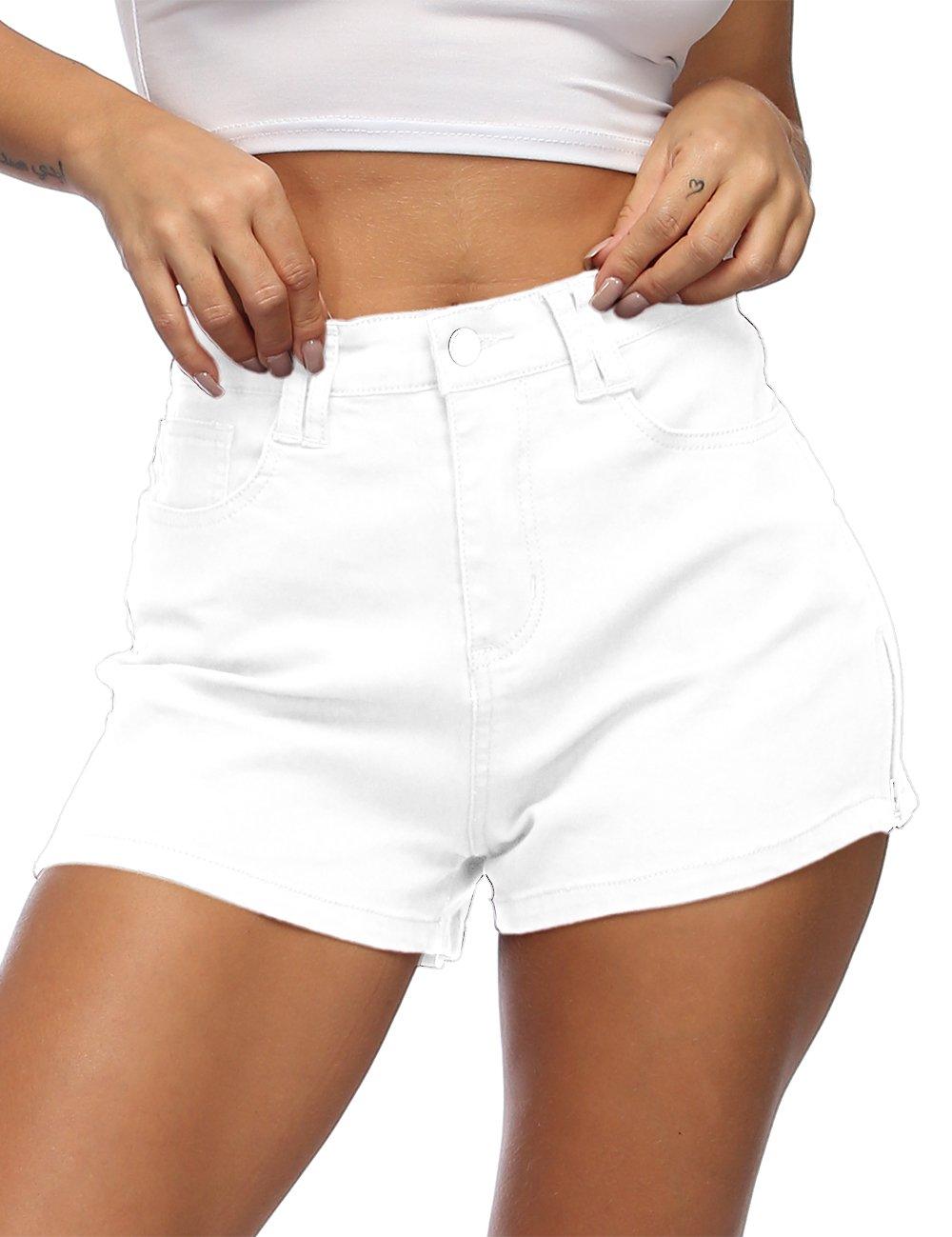 Cuihur Women's Juniors Casual Shorts Fashion Zipper High Waist Denim Jeans Shorts M White