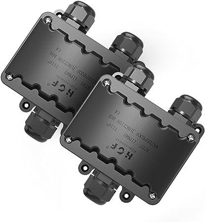 Cajas Electricas, Grandes 3 VÍAs Caja Estanca 2 Pquetes IP66 Negro Caja Empalmes Estanca, M20 PresiÓN de Cable 9mm-14mm (ABS + PVC): Amazon.es: Bricolaje y herramientas