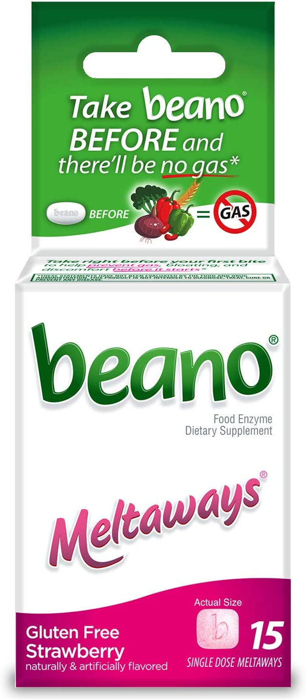 beano Strawberry Meltaways Gas Prevention | Bloating Relief | 15 Count | Packaging May Vary: Health & Personal Care