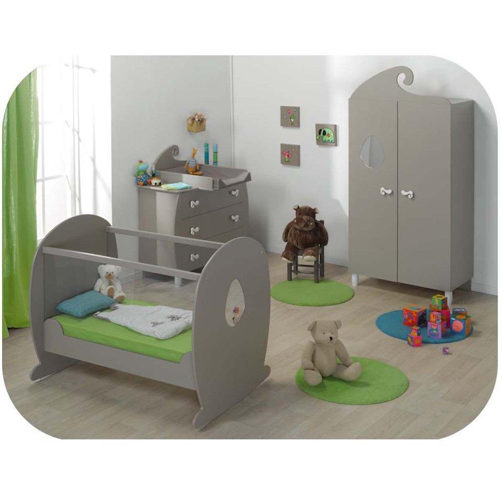 Babyzimmer komplett Lutin Lein Sand mit Babybett mit durchsichtigen Seiten