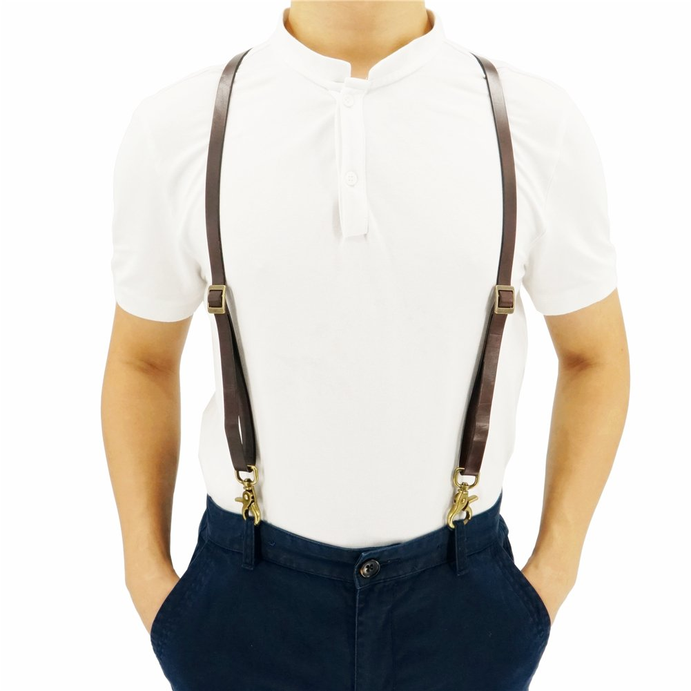 0.6'' Wide Full-Grain Thick Coffee Suspenders for Women and Men, European Style with Vintage Clips, Wedding Suspenders