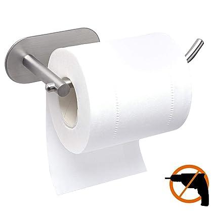 HOTSAN - Portarrollos de papel higiénico sin taladrar, acero inoxidable 304, adhesivo 3M autoadhesivo, no hay riesgo de caídas (pequeño), Sliver