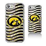Keyscaper NCAA Iowa Hawkeyes Wave Glitter Case, iPhone 8/7/6, Clear