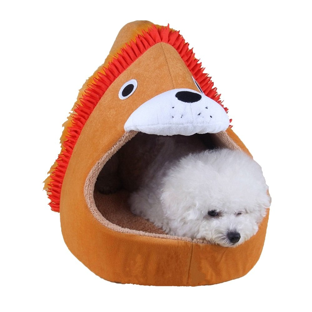 Medium Pet dog bed Pet Supplies Pet Nest Warm Lion Style Kennel Dog Bed Detachable (Size   M)