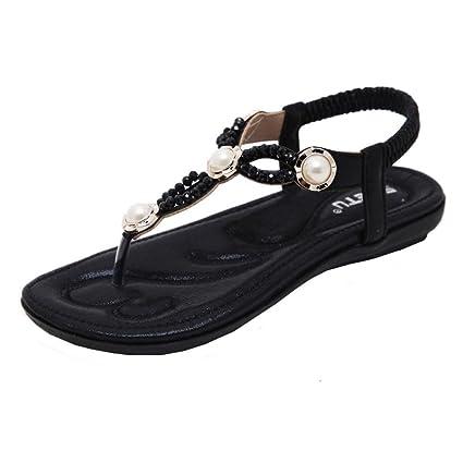 7d90ff9b6006 Amazon.com  Anxinke Summer Beaded Beach Shoes Bohemian Flat Sandals ...