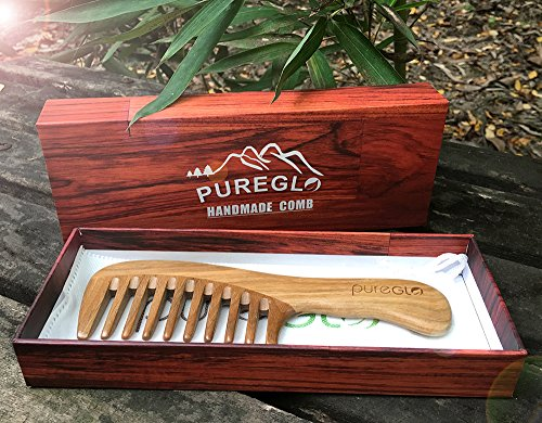 pureGLO Wood Hair Comb for Women - Green Sandalwood Handmade Wide Tooth Wooden Thinning Combs with Natural Aroma for Detangling Thick Curly Hair