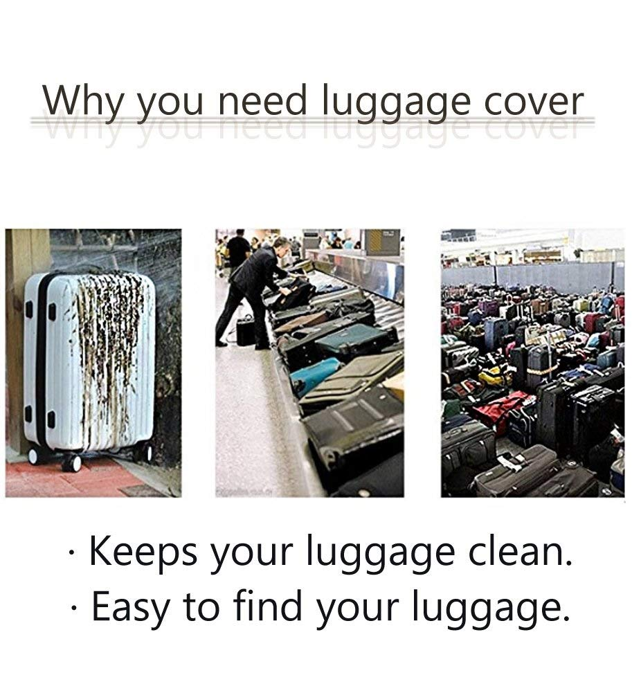 Size : S Trolley case Suitcase Cover The Fabric is Firm and Unbreakable Suitcase Sleeve Cover Dust-Proof,Wear Protection,No Odor,Spandex Luggage Protector 24-42 inches U-Shaped Lavender Purple