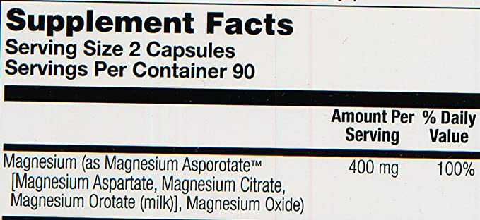 Solaray Magnesium Asporotate Supplement, 400 mg, 180 Count: Amazon.es: Salud y cuidado personal
