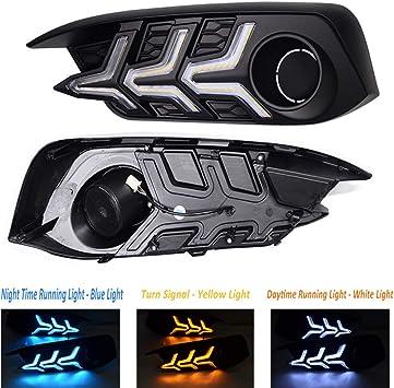 2x White+Amber DRL+Blue Angle Eye Kits LED Fog Lamp For Honda Civic 10th 2016-up