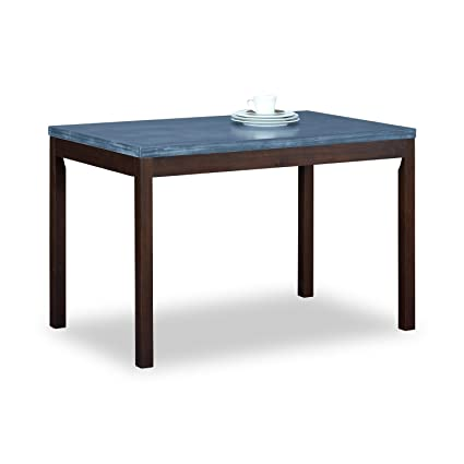 Amazoncom Pine Wood Dining Table 45 Faux Concrete Top Dining