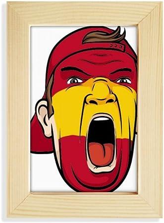 DIYthinker España Bandera Máscara Facial del Maquillaje Screaming Cap de Escritorio de Madera Marco de la Foto del Arte Pintura 5X7 Pulgadas: Amazon.es: Hogar