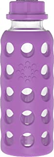 product image for Lifefactory 9-Ounce BPA-Free Glass Baby Bottle with Flat Cap and Protective Silicone Sleeve, Grape