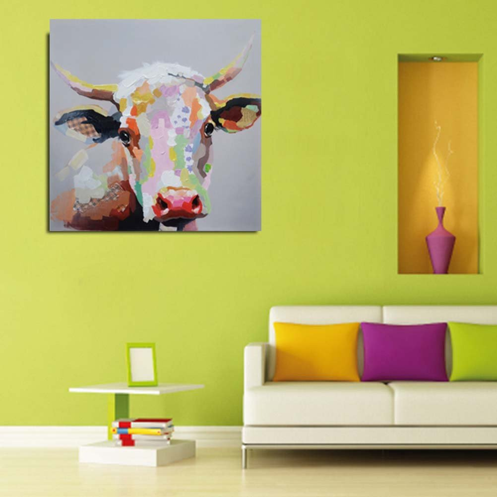 Amazon.com: Oil Painting Hand Painted on Canvas Cute Cattle Pictures ...