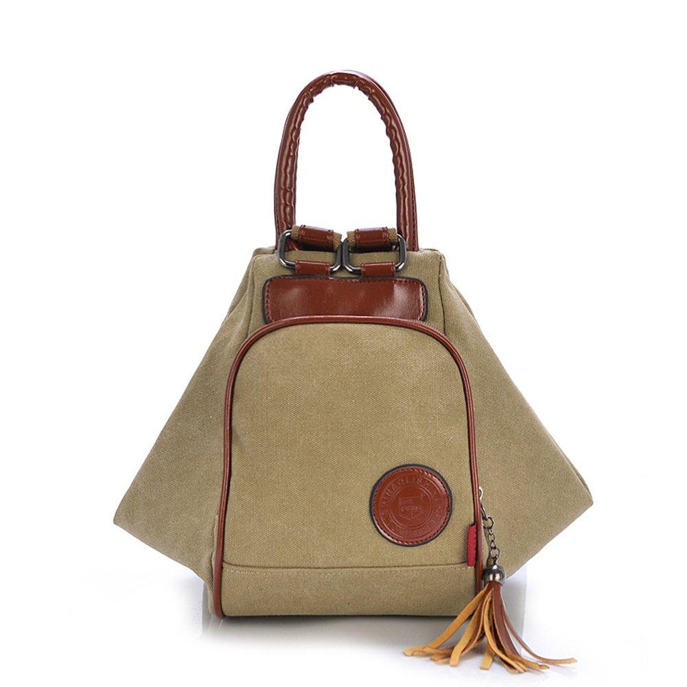 ZENTEII Women Retro Vintage Canvas Backpack Shoulder Bag (Khaki)