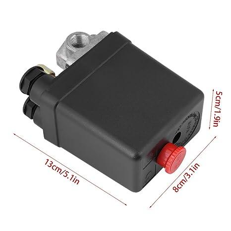 Interruptor del compresor de aire Heavy Duty 16A Control del interruptor de presión del compresor de aire de cuatro puertos 90PSI -120PSI: Amazon.es: ...