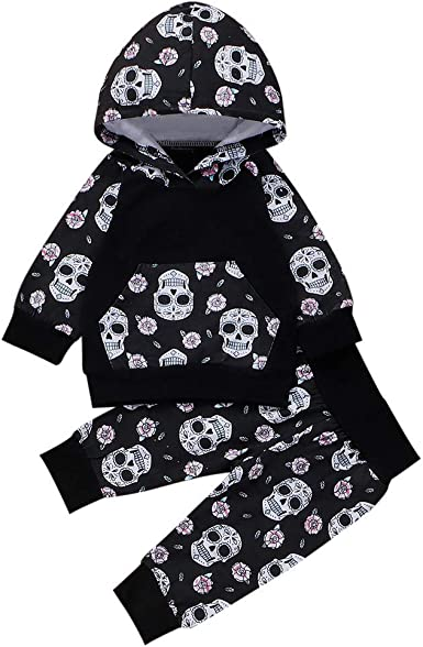 US Halloween Newborn Baby Boy Girl Skull Romper Jumpsuit Bodysuit Outfit Clothes
