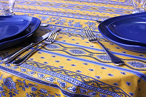 60x114 inch Rectangle or Oval Coated Tablecloth Avignon in Yellow and Blue - Please Choose the Shape - Indoor and Outdoor Use - Water and Stain Resistant - Easy Care Cotton Acrylic French Fabric.