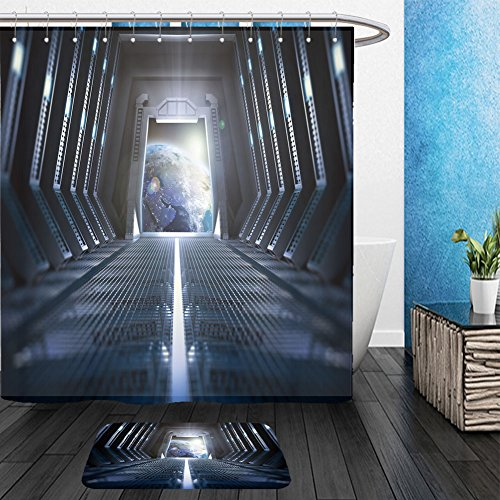 Futuristic Space Suit Costume (Vanfan Bathroom 2 Suits 1 Shower Curtains & 1 Floor Mats futuristic interior of a space station with a view of earth 257657491 From Bath room)