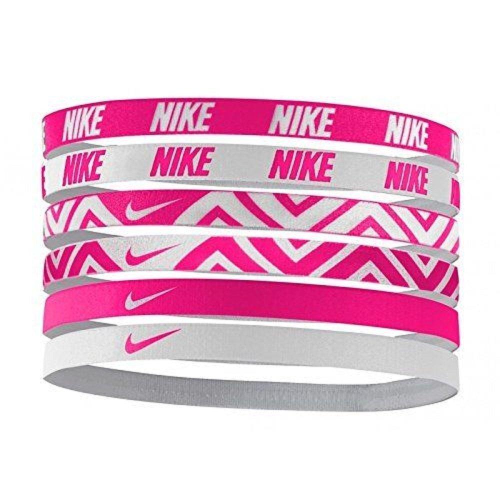 NIKE Printed Assorted Headbands 6PK,OSFM (Vivid Pink/White