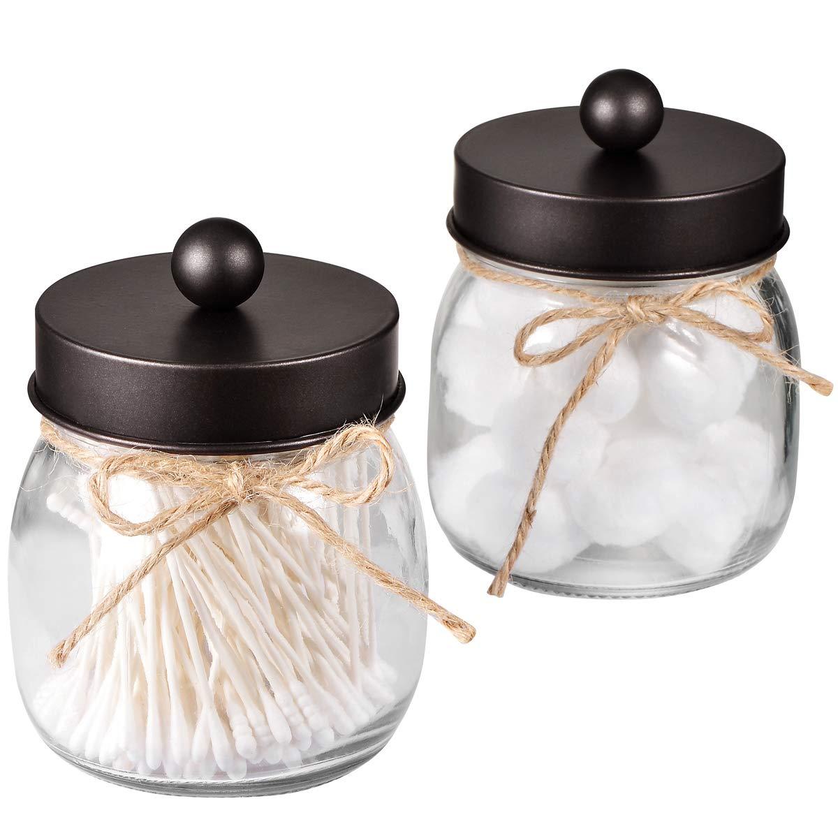 SheeChung Mason Jar Bathroom Apothecary Jars - Rustproof Stainless Steel Lid,Farmhouse Decor,Bathroom Vanity Storage Organizer Holder Glass for Qtips,Cotton Swabs,Ball,Bath Salts (Bronze, 2-Pack)