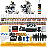Solong Tattoo Complete Tattoo Kit 2 Pro Machine Guns 54 Inks Power Supply Foot Pedal Needles Grips Tips TK252