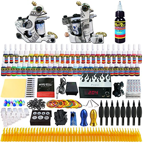 (Solong Tattoo® Complete Tattoo Kit 2 Pro Machine Guns 54 Inks Power Supply Foot Pedal Needles Grips Tips TK252)