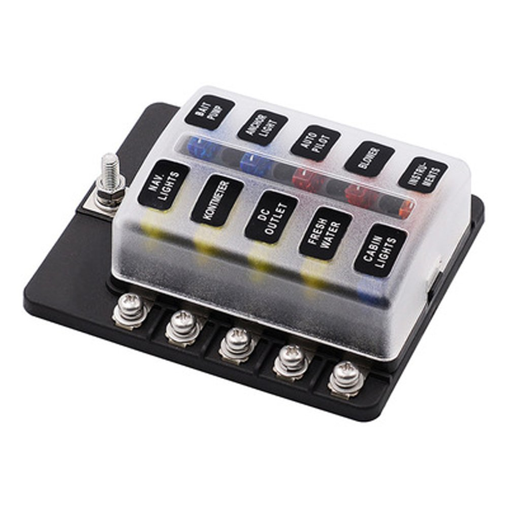 SAUTOP 10-Fach Sicherungshalter Flachsicherungshalter Schraubmutter Klemmsicherung LED Anzeige