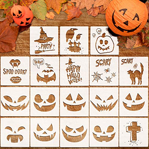 Halloween Carving Letters (Whaline 18 Pcs Halloween Plastic Painting Stencils, Reusable Pumpkin Expression Templates for DIY Card, Craft Art Drawing Painting Spraying, Window, Glass, Wood, Airbrush and Walls)