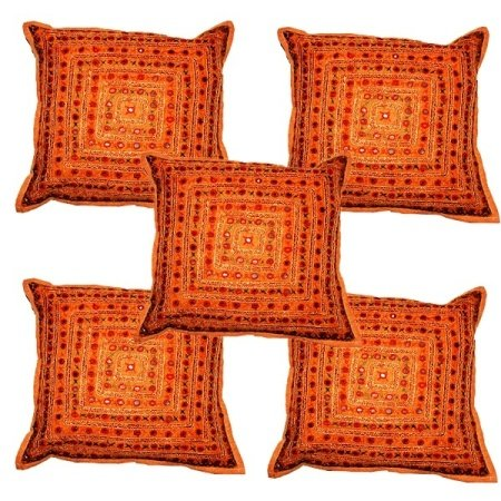 (Sophia Art by 5 Pcs Beautiful Embroidered Mirror Work Embroidery Indian Sari Throw Pillow Toss Cushion Covers (Orange+))