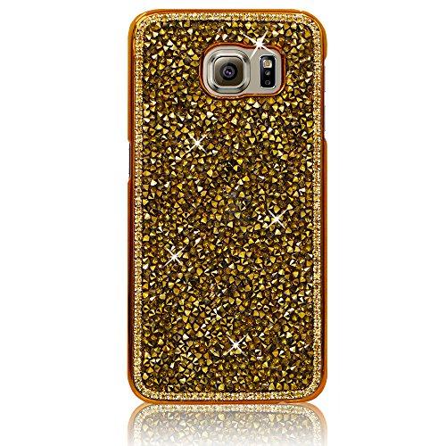 Xtra-Funky Serie Samsung Galaxy S7 diamantes de imitación Cristal Rocas del estuche rígido con espumoso Diamante ribete y Chrome Llanta - Rosa Oro