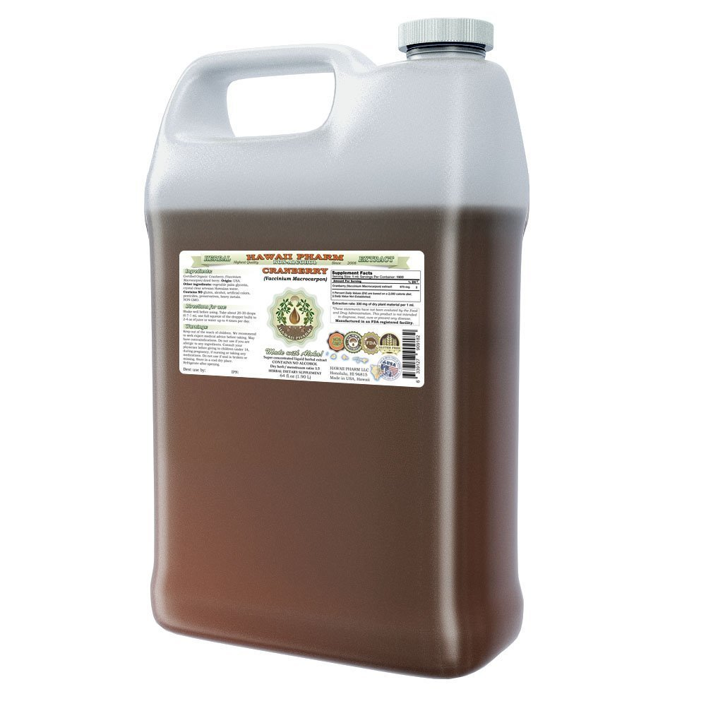Cranberry Alcohol-FREE Liquid Extract, Cranberry (Vaccinium Macrocarpon) Dried Berry Glycerite Hawaii Pharm Natural Herbal Supplement 64 oz