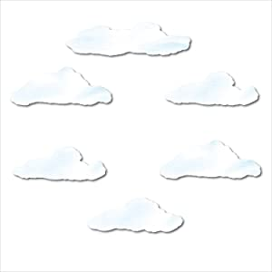My Wonderful Walls Cloud Wall Stickers for Baby or Kids Room Walls, Light Blue/White
