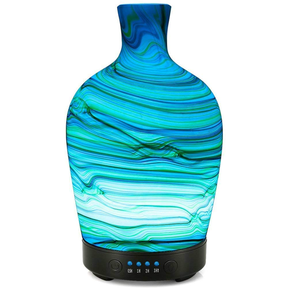 COOSA 100ML Essential Oil Diffuser Glass Swirl Wave Pattern with 4 Time Setting and 7 LED Color Changing Lights Waterless Auto Shut-Off Cool Mist Humidifier for Home Office Bedroom Spa
