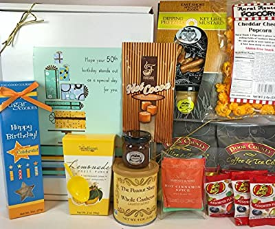 Happy 50th Birthday Gift Box Basket - Send Gourmet Coffees, Teas, Pretzels, Mustard, Fudge Sauce, Cookies, Hot Cocoa, Candy, Popcorn, and Nuts - Prime Happy Birthday 50 Men Women