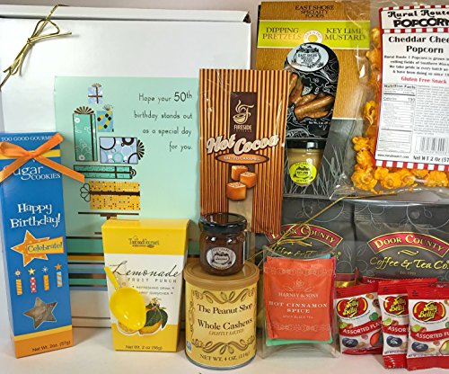 Happy 50th Birthday Gift Box Basket - Send Gourmet Coffees, Teas, Pretzels, Mustard, Fudge Sauce, Cookies, Hot Cocoa, Candy, Popcorn, and Nuts - Prime Happy Birthday 50 Men Women (50th Birthday Basket)