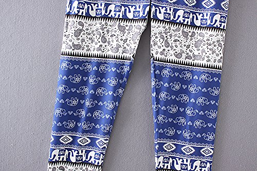 Knickerbockers Casual MORCHAN 2 Jegging Pantalon Slim Jeans Collants Skinny imprim Femmes Leggings gomtrique de Bleu Combinaisons Lady Pantalon Court Stretch qSCwqxT