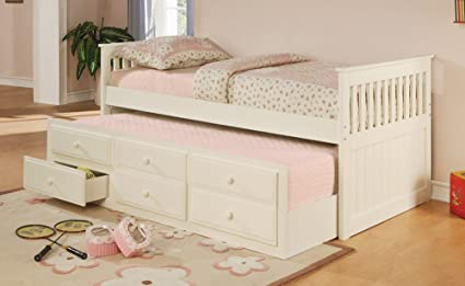 Amazoncom La Salle Twin Captains Bed With Trundle And Storage