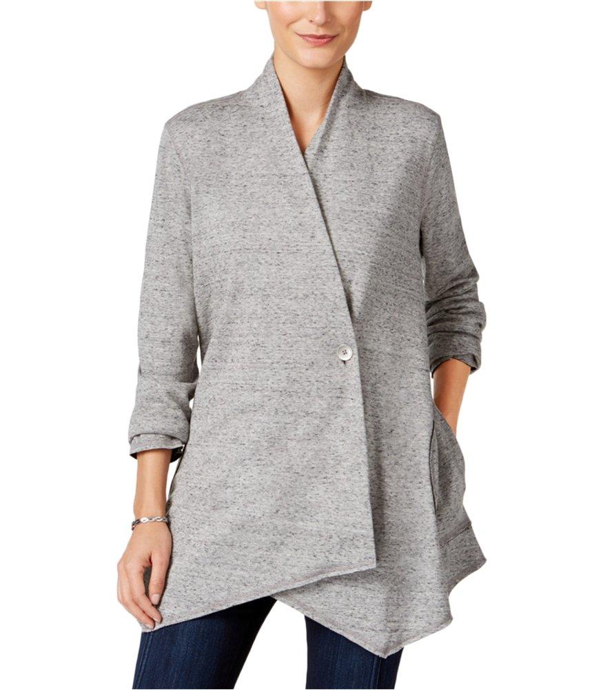 Style & Co. Womens Draped Cardigan Sweater Grey PS - Petite