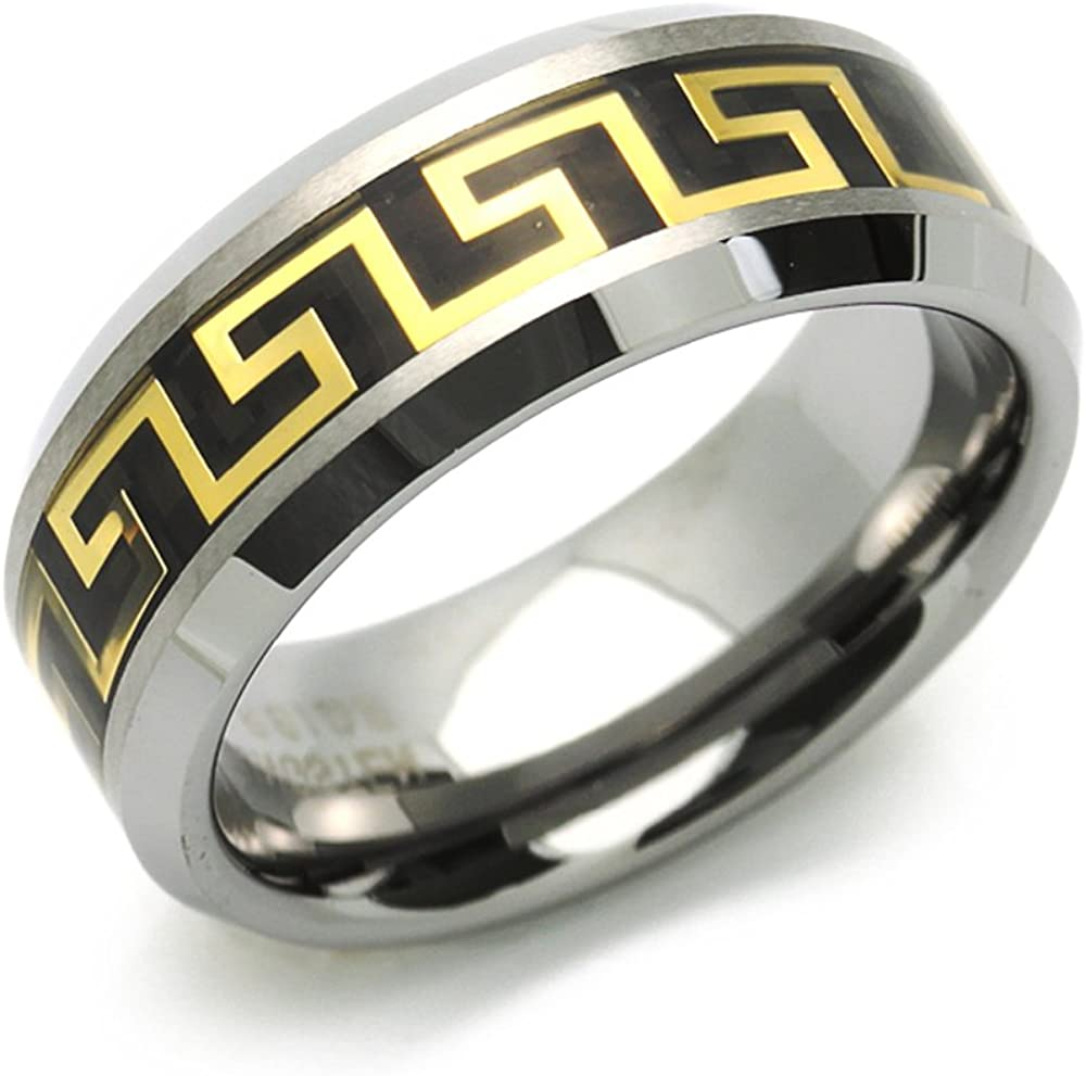 FB Jewels Tungsten Polished Triple Grooved Mens Comfort-fit 8mm Wedding Anniversary Band Ring Size 10