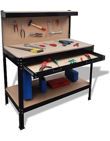 Banco de trabajo con tablero y cajón de acero + banco de trabajo de MDF con
