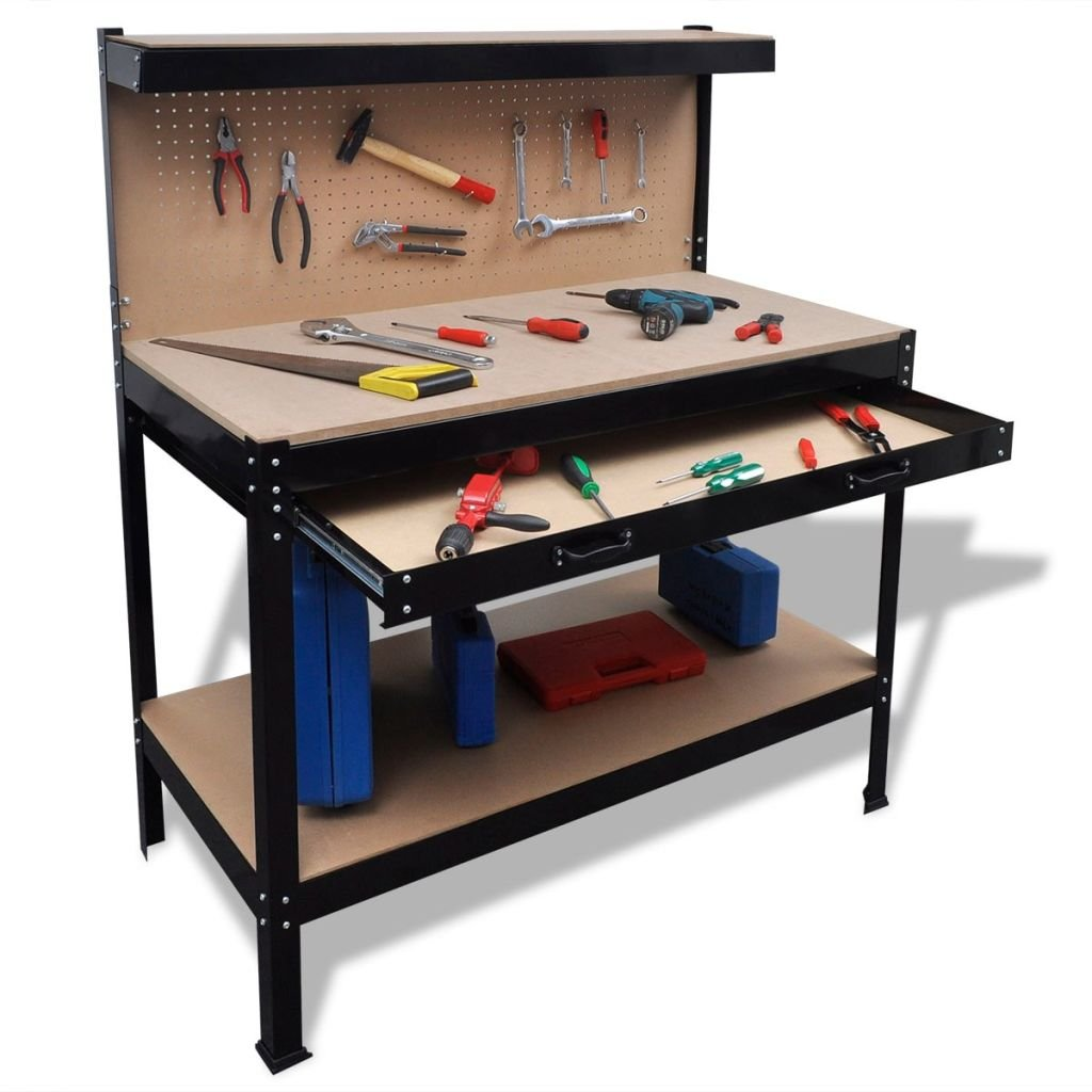 Workbench with Pegboard and Drawer Made of Steel Frame + MDF Workbench Perfect for Both Professional and Personal Use