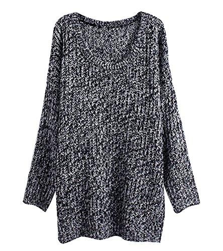 Chandails Manches Rond Hiver Longues Femme Gris pour en Col Maille Pull Chaud Sweaters Tricot gtxq8wFgU